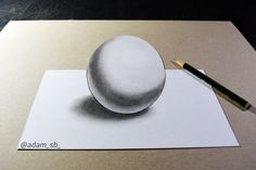 ball drawing with pencil by Adam SB Ball Drawing, Pencil Drawings, 3d