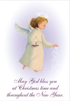 'May God Bless You' - Christmas card template you can print or send online as eCard for free. Personalize with your own message, photos and stickers. Christmas Poems For Cards, Free Printable Christmas Cards, Religious Christmas Cards, Christmas Card Template, Vintage Christmas Cards, Christmas Angels, Christmas Greetings, Christmas Art, Christmas Sayings