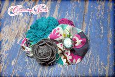 Fuchsia Aqua Teal Flower Headband Hair by CrowningPetals on Etsy, $17.50