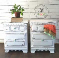 Shabby white painted nightstands #bohoinspiredfurniture #roseberryworkshop