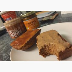 •3/4c whole wheat pastry flour (or regular) •1 scoop Snickerdoodle PEScience protein •1.5c pumpkin purée •1 1/4c liquid egg whites •1tsp cinnamon •2tsp pumpkin pie spice •1/2tsp nutmeg •1tsp baking soda •1/2tsp baking powder •Stevia to taste (I used 6 stevia packets)  Mix dry and wet ingredients separately then stir dry into wet. I used a mini loaf pan baked at 350F for 25-30min and made 6. Or you could use a 9x5 bread pan and bake for 50-55min