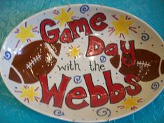 Game Day Platter / Paint Your Own Pottery / Kiln Creations, Noblesville, Indiana.  www.kilncreations.net