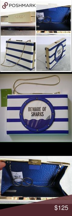 """NWT Kate Spade New York Make A Splash Scratch Resistant Saffiano Leather  Studded Clear Mylar Covered """"Porthole"""" 14k Light Gold Plated Hardware Snake Chain Strap With 12"""" Drop Can Be Tucked Inside of Bag to Transform into Clutch Kate Spade Embossed Clasp Closure Fully Lined in Kate Spade Signature Twill Fabric Interior Kate Spade Imprinted Leather Patch COLOR: Blue & White Kate Spade Bags Clutches & Wristlets"""