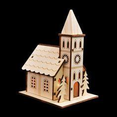 Zet meerdere houten snijwerken naast elkaar en maak je eigen kerstdorpje! www.kerstwereld.nl/kerstdorpen