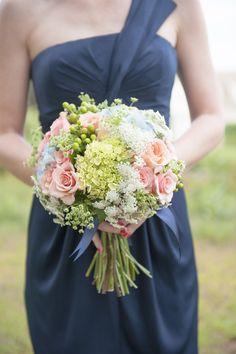 Hydrangea + rose bouquet | Read More: http://www.stylemepretty.com/little-black-book-blog/2014/06/17/maine-seaside-cottage-wedding/ | Photography: Brea McDonald Photography - breamcdonald.com