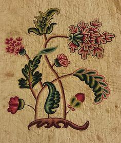 Detail of one motif from a crewel work bedspread linen, wool thread. silk thread c.1690-1710