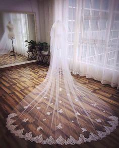 veu de noiva 3 metros 2015 Cathedral Wedding Veil Long Lace Appliques Bridal Veils Wedding Accessories