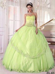 Cheap Yellow Green Taffeta and Tulle Quinceanera Dresses with Sweetheart