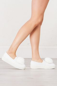 Side View Furry Creeper Slip On in White