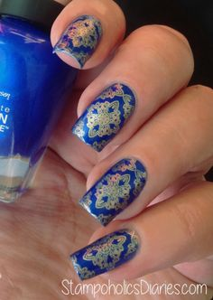Sally Hansen Batbano Blue, Essie good as Gold, EDM-5 stmping StampoholicsDiaries.com