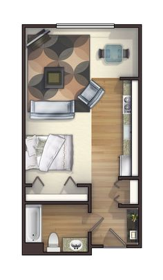 One of the many studio floor plans we offer. Rents for $720-$750.