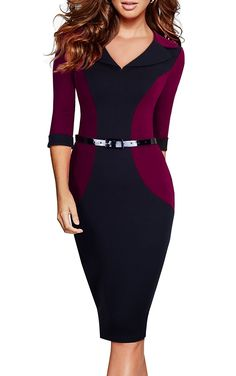 95da4f4264 Women s V-Neck Patchwork 3 4 Sleeve Wear to Work Pencil Dress B354 -  Carmine + Black - CX12O8CATK1