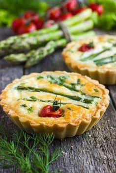 Gluten Free Cheese Tartlets with Asparagus and Tomatoa