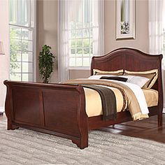 Henry Sleigh Bed Queen/Cherry: Includes headboard, foot board, and rails
