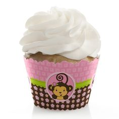 Monkey Girl  Cupcake Wrappers  Set of 12 * Click image for more details.(This is an Amazon affiliate link)