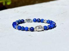 Magnifique Bracelet Zen en Pierres Semi-Précieuses de Lapis Lazuli et perles argentées. Bijoux Lithothérapie de Créateur par Bijoutissime.  Création de votre Bracelet avec d - 17928796