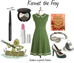 Fandom Inspired Fashion: Kermit the Frog Inspired Outfit. It's not easy being #green. Based off of #Kermit the #Frog from the #Muppets. #Retro green and white heels, and dress with triangle collar. #Banjo bracelet and ring, as well as a Kermit necklace. Green eyeshadow palette, black eyeliner and pink lipstick for makeup.