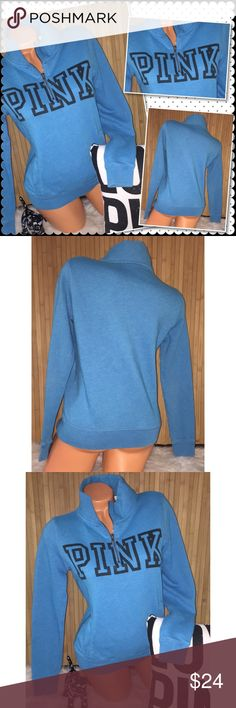 """VS PINK 1/4 zip Pullover Crew XS VS Victoria's Secret PINK Pullover 1/4 zip crew Color: turquoise with black front graphics and has front kangaroo pocket  18"""" chest 23"""" length. Sz XS  Pre owned in good condition no holes or stains..  piling through out from washing. Minor blemishes on sleeve cuffs(last picture)Smoke/pet free. ❤️gladly Bundle. No trades. No holds PINK Victoria's Secret Sweaters Crew & Scoop Necks"""
