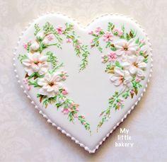 Ma petite boulangerie :): Belle cookie coeur .. Inspiré par le ruban de broderie de Lorra.