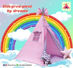 Kids Teepee Tent, Play Tents, Teepees, Sleepover Party, Slumber Parties, 3 Kids, Children, Bamboo Poles, Kids Zone