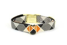 Plaid dog collar burnt orange cream black Autumn Fall boy dog collar with gold tone metal buckle  - Made from printed cotton fabric, hand cut and fully lined with heavy weight interfacing and attached on to heavy weight nylon webbing and triple reinforced stitches at stress points. - Fully adjustable and easy to wear with contoured gold-tone side-release metal buckle, adjuster and heavy-duty welded D-ring. - Can be hand-washed or machine-washed (gentle cycle) and lay flat dry.  Each collar…