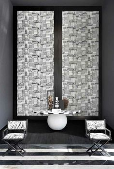 wandgestaltung schwarz weiß wohnzimmer einrichten tapetenmuster, Wohnzimmer