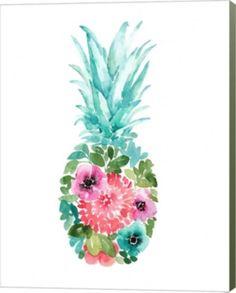 Metaverse Floral Pineapple I By Elise Engh Canvas Art Pineapple Tattoo, Pineapple Art, Floral Watercolor, Watercolor Paintings, Original Paintings, Floral Paintings, Watercolours, Mothers Day Drawings, Pineapple Painting