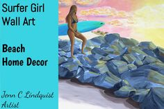 """On The Rocks"" by Jenn C Lindquist - Acrylic Painting - Original Beach Artwork Pin to Save for later!  This beautiful original painting of a surfer girl walking on the jetties will be a lovely addition of coastal decor to your beach house.  Also, consider this as a gift for the surfer girl in your life. Beach Paintings, Beach Artwork, Beach Wall Art, Seascape Paintings, Time Painting, Painting Canvas, Ocean Art, Ocean Waves, Landscape Painting Artists"