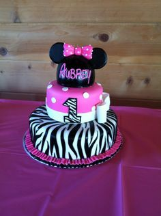 My daughter Aubrey's 1st Birthday cake!!  Minnie Mouse with Zebra Print detailing!!