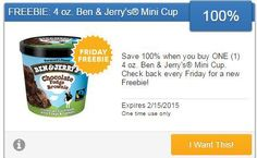 Friday Freebie 100% cash back on Ben & Jerry's Mini Cup