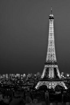 Black and white Eiffel Tower above Paris landscape