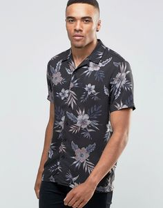 New+Look+Charcoal+Shirt+With+Floral+Print+In+Regular+Print