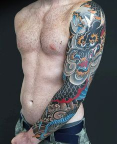 100 Dragon Sleeve Tattoo Designs For Men