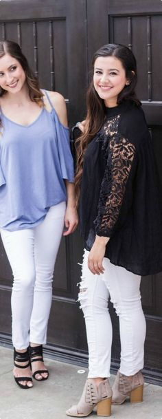 For the perfect summer night out! Our black Laced Sleeve Top and Belled Open Shoulder Top both with our distressed and nondistressed white denim