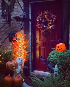 We've waited all year but it's practically here. Have you decorated your outdoor spaces for #Halloween yet?   In photo: Outdoor Fiber Optic Friendly Ghost, Outdoor LED Autumn Maple Tree Halloween Doorway, Halloween Front Door Decorations, Thanksgiving Decorations, Halloween Season, Fall Halloween, Halloween Crafts, Realistic Christmas Trees, Window Candles, Pumpkin Picking