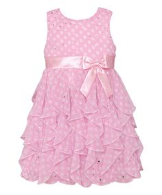 Love this Ice Pink Polka Dot Ruffle Tier Dress - Infant, Toddler & Girls by American Princess on #zulily! #zulilyfinds
