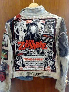 Distressed White Punk Rob Zombie Jacket....I need to try and make one of these myself! I love Rob Zombie!