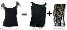 Fun tank top project - simple DIY lace sleeve.  How to.