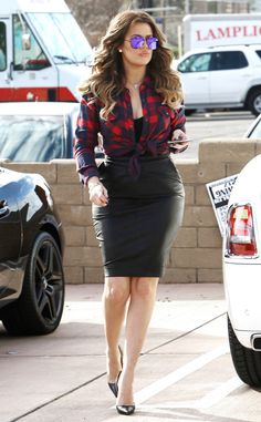 Bombshell from Khloé Kardashian's Street Style Seriously—how can a pencil skirt and plaid top combo look so good?! The E! star nails it with this sharp ensemble.