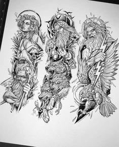 Half Sleeve Tattoos Drawings, Half Sleeve Tattoos Designs, Arm Sleeve Tattoos, Tattoo Design Drawings, Tattoo Sketches, Men Tattoo Sleeves, Egypt Tattoo Design, Hades Tattoo, Zeus Tattoo