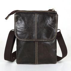 Nesitu Promotion Dark Coffee Vintage Real Genuine Leather Small Men Messenger Bags Mini Mobile Phone Bag Cigarette Bag #M009