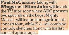 McCartney, Paul / Will Invade the TV Tube Soon | Magazine Article (1977)