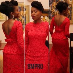 Red nigerian wedding lace dress for bride or bridesmaid. Follow @chiefwedslolo for more inspiration