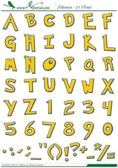 """Tipografía, abecedario o alfabeto """"Pokemons"""" completo, tipografía en Mayúsculas y Minúsculas, estilo cómic angulosa, color amarillo con bordes azules definidos."""