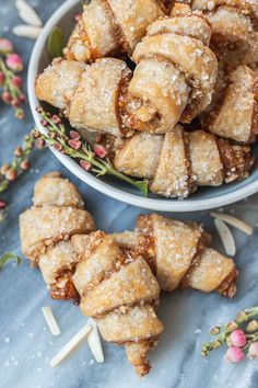 Tender, flaky cream cheese pastry provides the perfect vehicle for apricot jam and sweet almond filling in these Apricot-Almond Rugelach. #apricot #almond #jamfilled #rugelach #sweets #cookies #rugelach