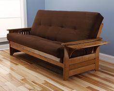 Rosemount Full Size Sofa Futon, Honey Oak Wood Frame With Suede Innerspring Mattress, Chocolate