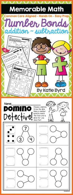 A super resource for teaching number bonds, addition, and subtraction to young students. Loaded with easy prep, hands on, common core aligned activities to make math memorable for kids and EASY for you! Perfect supplement for any kindergarten or first grade classroom. Made to save your ink and time. $