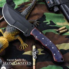 ALONZO KNIVES USA CUSTOM HANDMADE BUSHCRAFT TRACKER 1095 KNIFE MICARTA HANDL1430 #AlonzoKnives