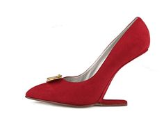 """Shoe-Icons / Shoes / """"Trompe L'Oeil"""" heelless shoes with upper made of dark red suede with golden leaf shaped decoration on the vamp."""