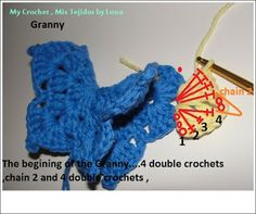My Crochet , Mis Tejidos: Granny square with a Butterfly for the Sibol Group and the Tutorial.